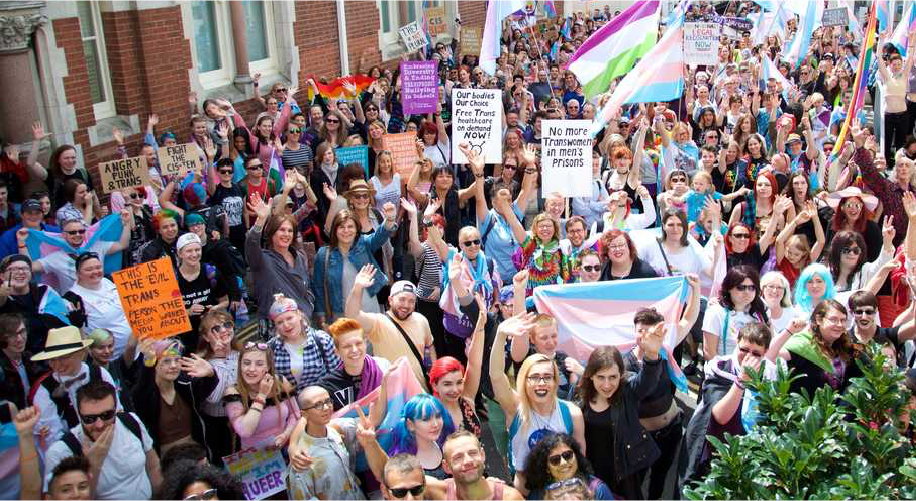 Trans Pride March crowd waiting to start the march from above