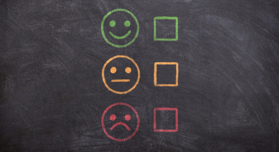 Graphic showing smiling, neutral, and frowning faces with checkboxes