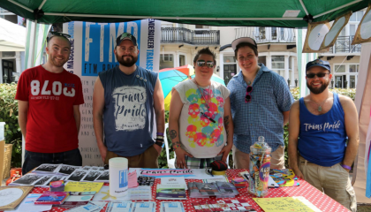 Group photo of people running a stall at Trans Pride Brighton