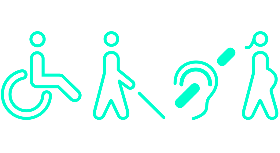 Graphic showing various accessibility symbols
