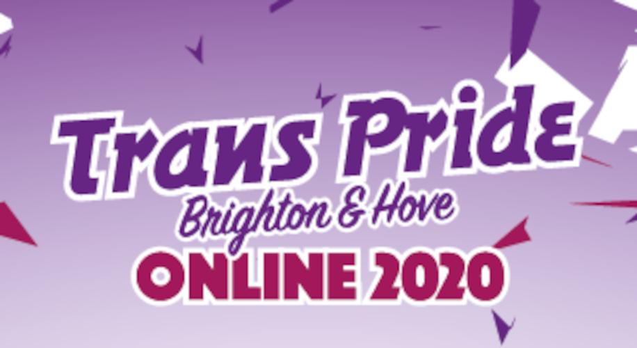 "Trans Pride Brighton logo with text ""Online 2020"""
