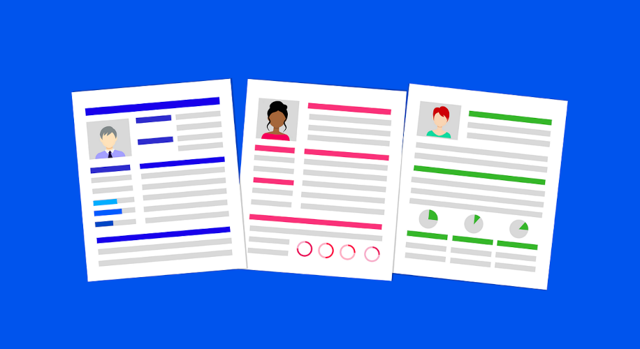 Graphic of a collection of resumes